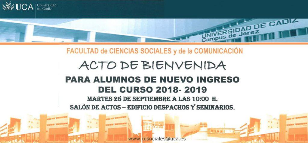 Acto de Bienvenida para los alumnos de nuevo ingreso 2018/2019