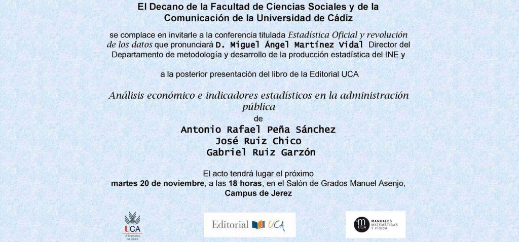 """Presentación del libro """"Análisis Económico e Indicadores Estadísticos en la Administración Pública"""" en la Facultad de Ciencias Sociales y de la Comunicación"""