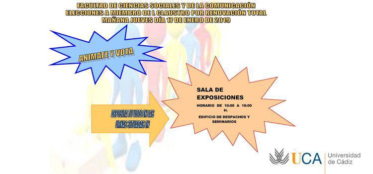 Elecciones a Miembro del Claustro por renovación total en la Facultad de Ciencias Sociales y de la Comunicación